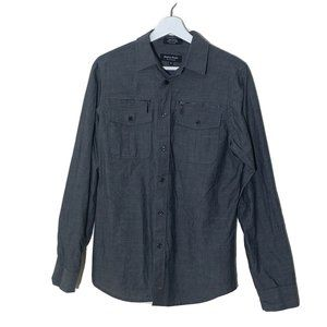 Eighty Eight Mens Top S Gray Button Down L/S